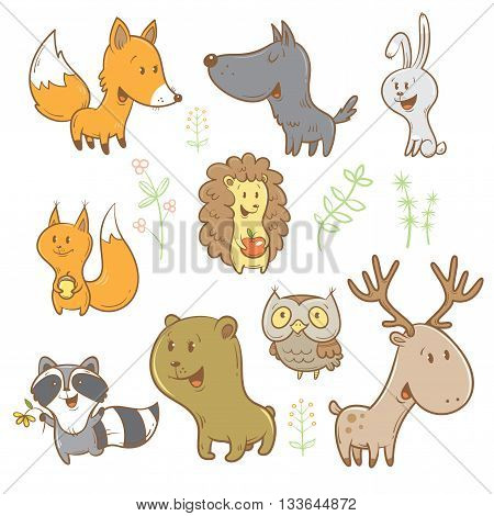 Cute cartoon forest animals set. Funny fox, wolf, squirrel, hare, raccoon, owl and deer. Different plants. Vector image. Children's illustration.