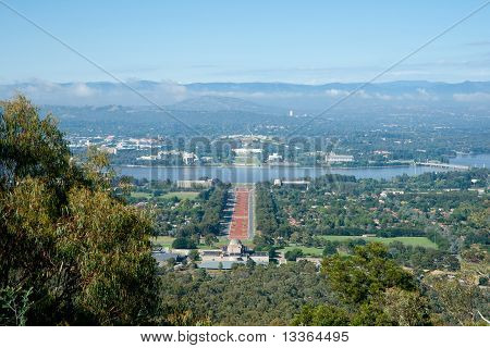 Looking down on Canberra, Australia.