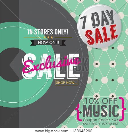 Vinyl Exclusive Sale 7 Days Only For Music Lover Promotion Banner Template Vector Illustration. EPS 10