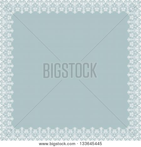 Classic square frame with arabesques and orient elements. Abstract fine light blue and white ornament