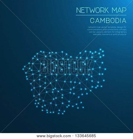 Cambodia Network Map. Abstract Polygonal Map Design. Internet Connections Vector Illustration.