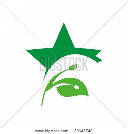 logo icon food symbol cutlery star design vector