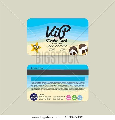 Front And Back VIP Member Card Template Sea And Beach Concept Vector Illustration. EPS 10