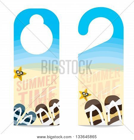 Flipflop And Star Fish On The Beach Summer Vacation Concept Door Hanger Vector Illustration. EPS 10
