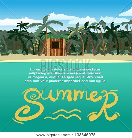 Summer vacation concept background with space for text. Sea landscape summer tropical beach with palm trees and a small wooden hut. Vector cartoon flat illustration.