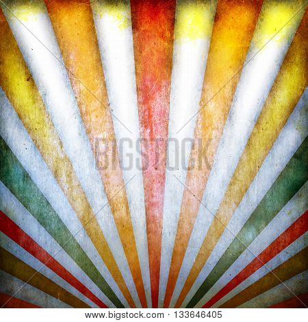Vintage, grunge background with multicolor sunbeams. Illustration.
