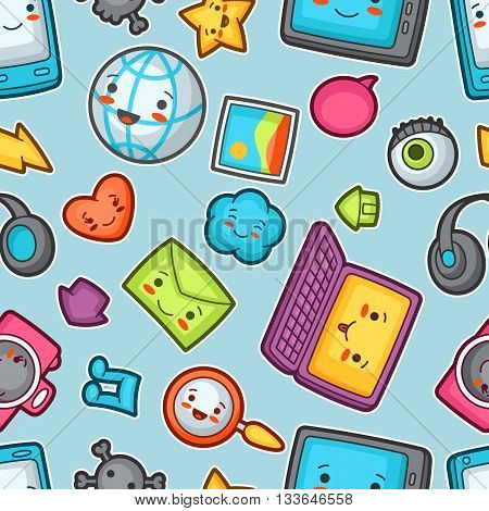 Kawaii gadgets social network seamless pattern. Doodles with pretty facial expression. Illustration of phone, tablet, globe, camera, laptop, headphones and other.