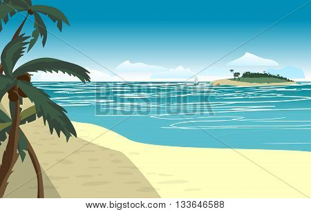 Sea landscape summer beach. Beach of the sea to the island in the distance in summer vacation. Background on beach. Vector flat illustration
