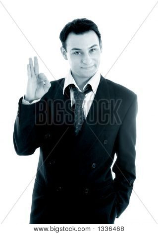 Monochrome Picture Of Friendly Businessman Showing Ok Sign