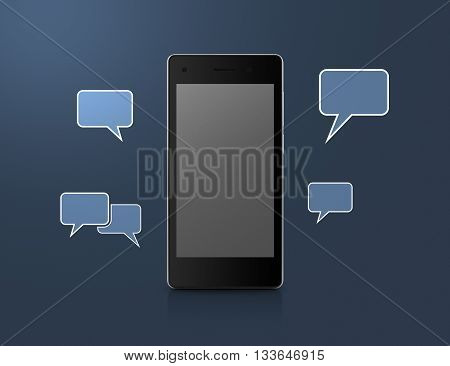Modern smart phone with social chat sign and speech bubbles over blue background Social network concept