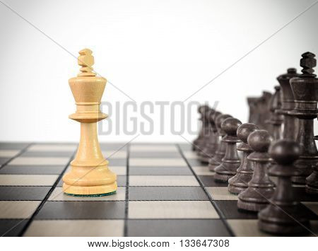 Chess king staying before the set of another colour pieces