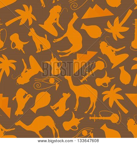 Seamless ornament Egypt-vector illustration. Egyptian pyramid hookah Arab palm tree vase pitcher. Egyptian cat camel eye of the beholder.