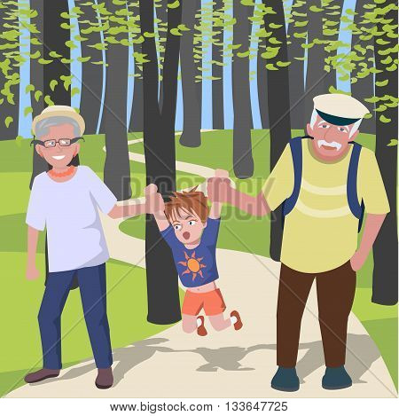 grandchild with grantparents walking at park - colorful cartoon vector illustration