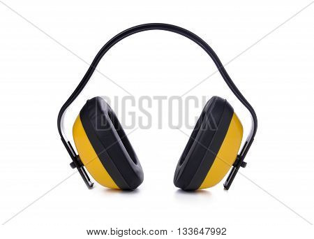 Yellow earmuffs isolated on white. The protective equipment