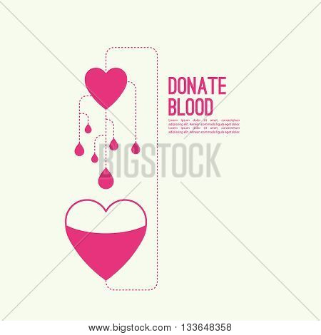 Abstract background with heart and dotted lines. blood donation, help the sick and needy. Heart with drop of blood