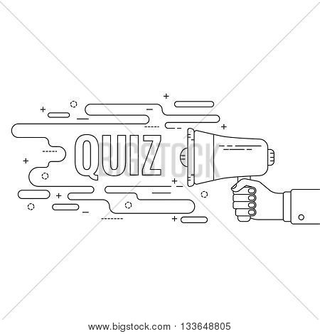 Hand holding a megaphone. Icon  loudspeaker with linear banner, text box. Notification through the speaker, advertisement bullhorn. Vector. Quiz.