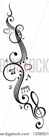 Music sheet with music notes and clef, vector tattoo