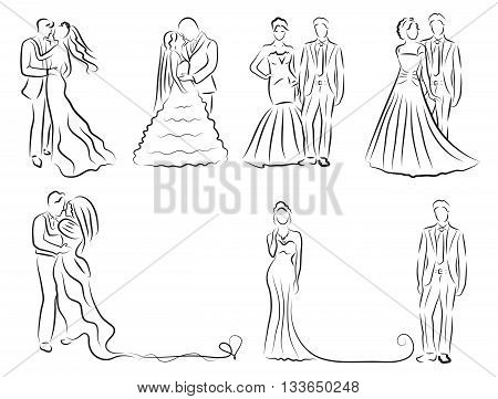 silhouette of bride and groom set newlyweds sketch hand drawing wedding invitation vector illustration