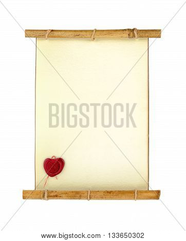 Old vintage scroll letter with stamp isolated on white background
