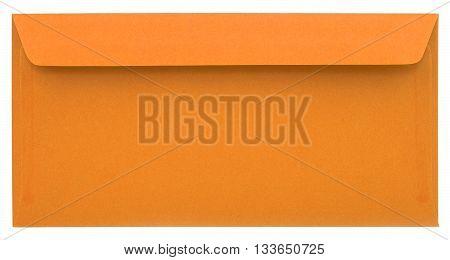 Orange paper envelope isolated on white background