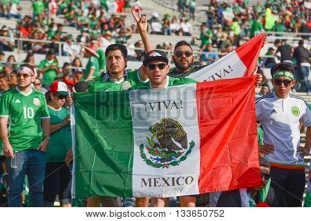 Soccer Fans Holding The Mexico Flag During Copa America Centenario