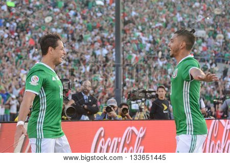 Chicharito Celebrating Goal With J M Corona