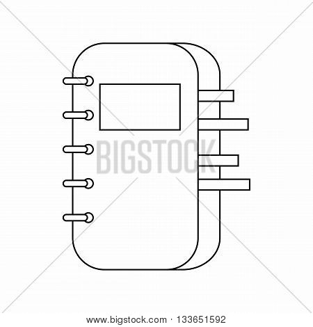 Spiral bound notepad icon in thin line style isolated on white background