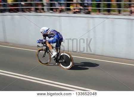 APELDOORN, NETHERLANDS-MAY 6 2016: Bob Jungels of pro cycling team Etixx-Quick Step during the Giro d'Italia prologue time trial.