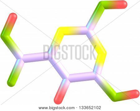 Orotic acid is a heterocyclic compound and it is also known as pyrimidinecarboxylic acid. It was believed to be part of the Vitamin B13. 3d illustration