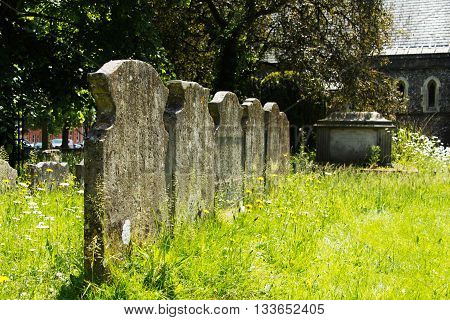 Grave Stones Outside A Church In Beaconsfield, Buckinghamshire, England
