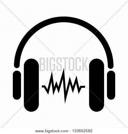 Sound in headphones icon in simple style isolated on white background. Device symbol