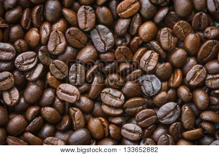 closeup dried coffee bean background for business