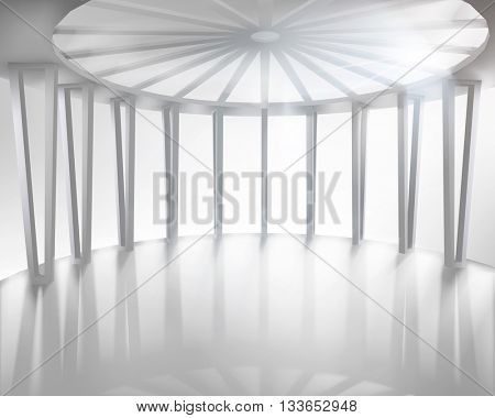 Round hall, large space. Vector illustration.