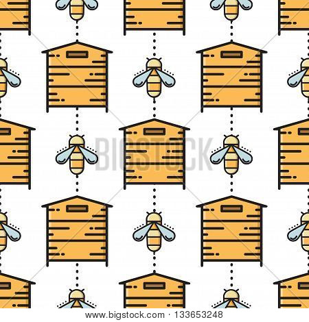 Thin line bee and beehive seamless pattern. Vector illustration