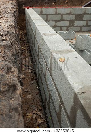 New block wall foundation for new house