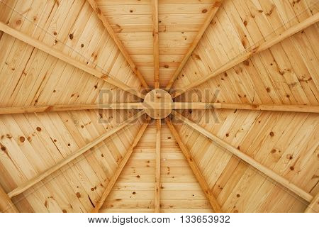 Detail of gazebo wooden ceiling under construction