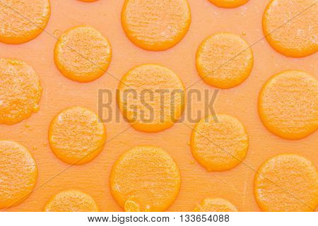 texture of old and dirty sole of a orange slipper background.