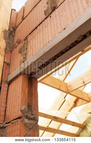 Building and Construction house wall made red brick