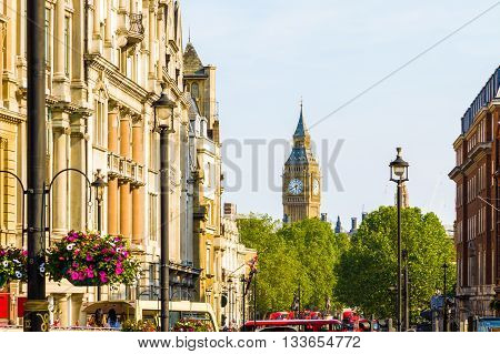 View of Big Ben from Trafalgar Square London