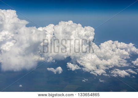 Cloudscape. Blue sky and white cloud. Sunny day. Cumulus cloud.