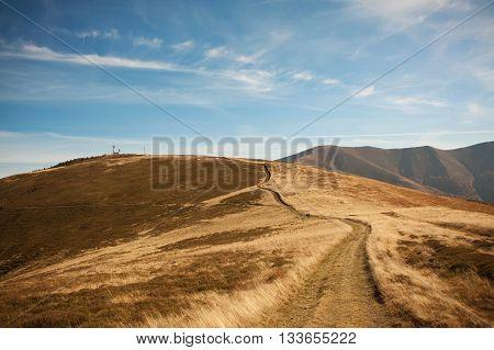 Red autumn in a Carpathian mountains. Borzhava ridge. National park of Ukraine