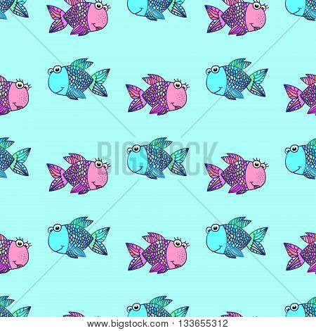 Seamless pattern with fishes. Marine cartoon vector illustration. Fish love. Mosaic design