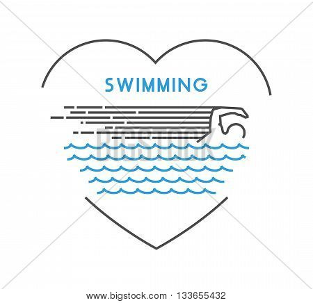 Line vector symbol for swimming with open path. I love swim. Outline figure swimmer. Stylish logo swimming on white background.