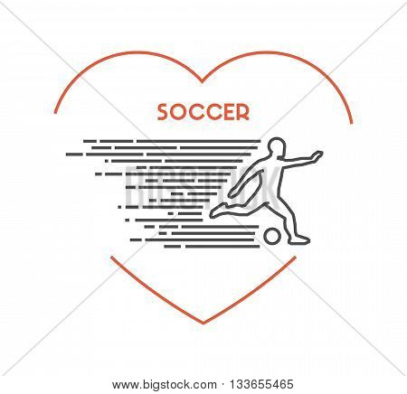 Line vector symbol for soccer with open path. I love soccer. Outline figure soccer player. Stylish logo soccer on white background.