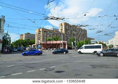 Moscow, Russia - June 03.2016. Transport at a crossroads in front of the subway Krasnoselskaya