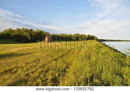 Expanses of river. River landscape in the polar Ural Komi Republic Russia.