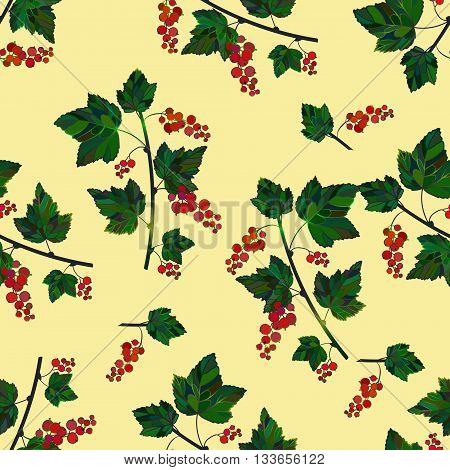 Colored currant seamless pattern. Vector currant pattern on a beige background. Seamless pattern with colored hand draw graphic currantberries. Vector red berries template.
