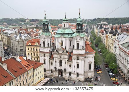 Pearl of architecture and gastronomic tourism the capital of the Czech Republic. The streets of Prague towers and steeples.