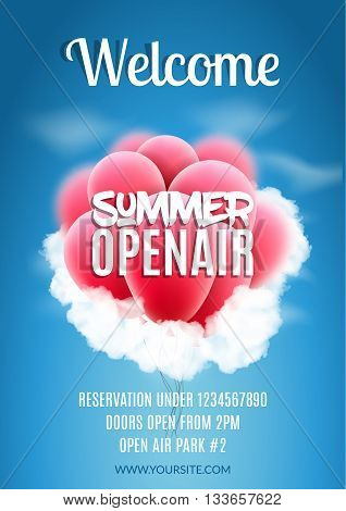 Open Air Festival Party Poster design. Flyer or poster template for Summer Open Air with red balloons.