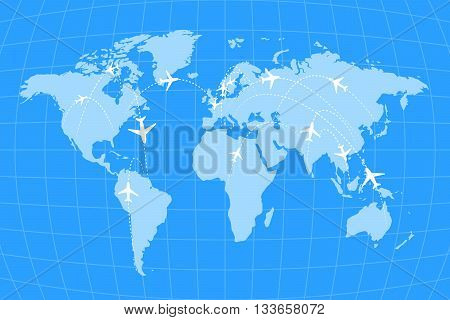 Airline routes on worldwide map blue and white infographic illustration